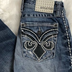 Affliction Distressed Straight Leg Jeans Size 30